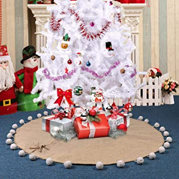 partytalk burlap christmas tree skirt with jumbo white pom pom fringe 48 inch natural jute