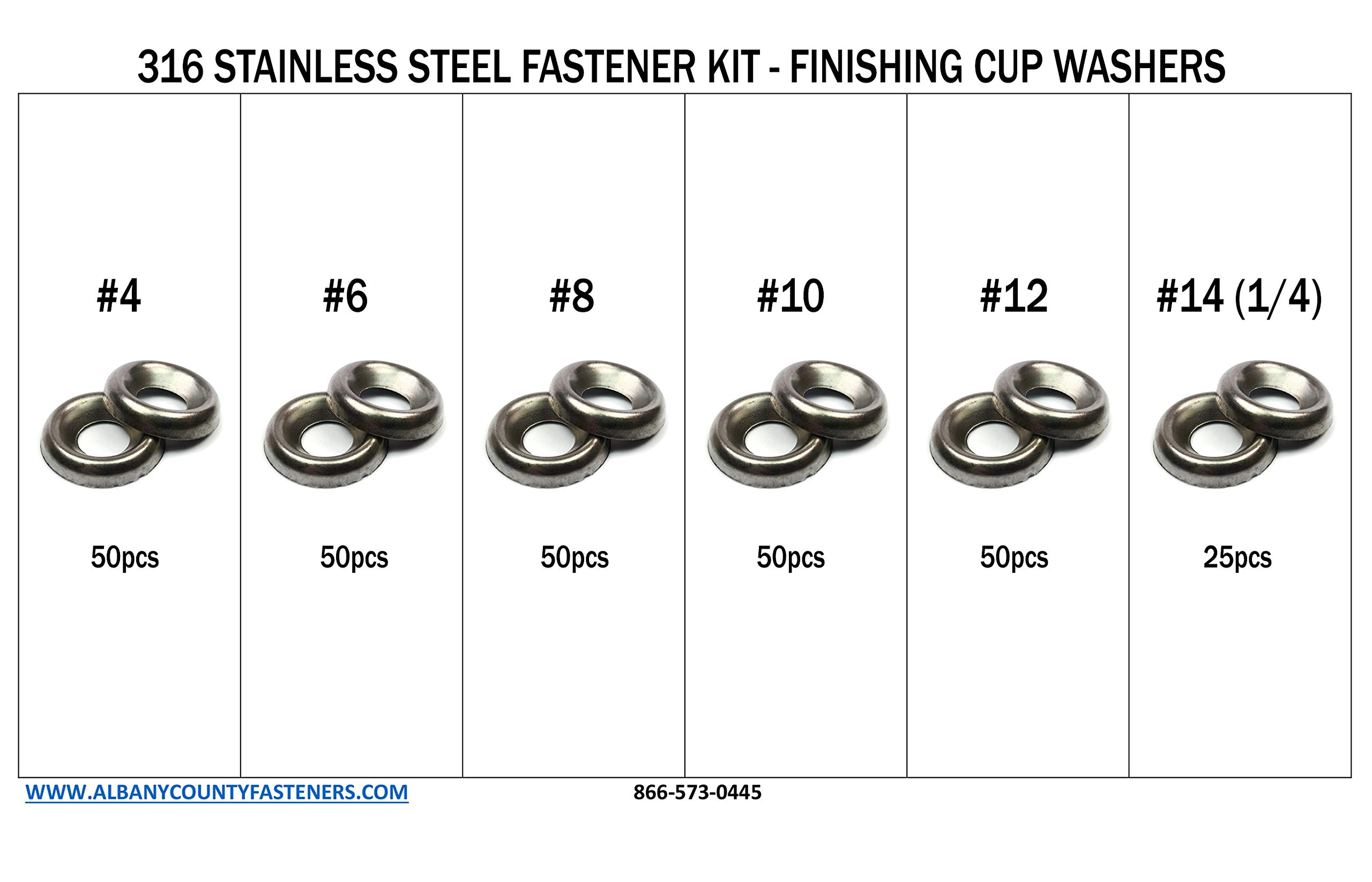 316 Stainless Steel Countersunk Finishing Cup Washers Kit sizes #4 through 1/4'' - 276 pieces