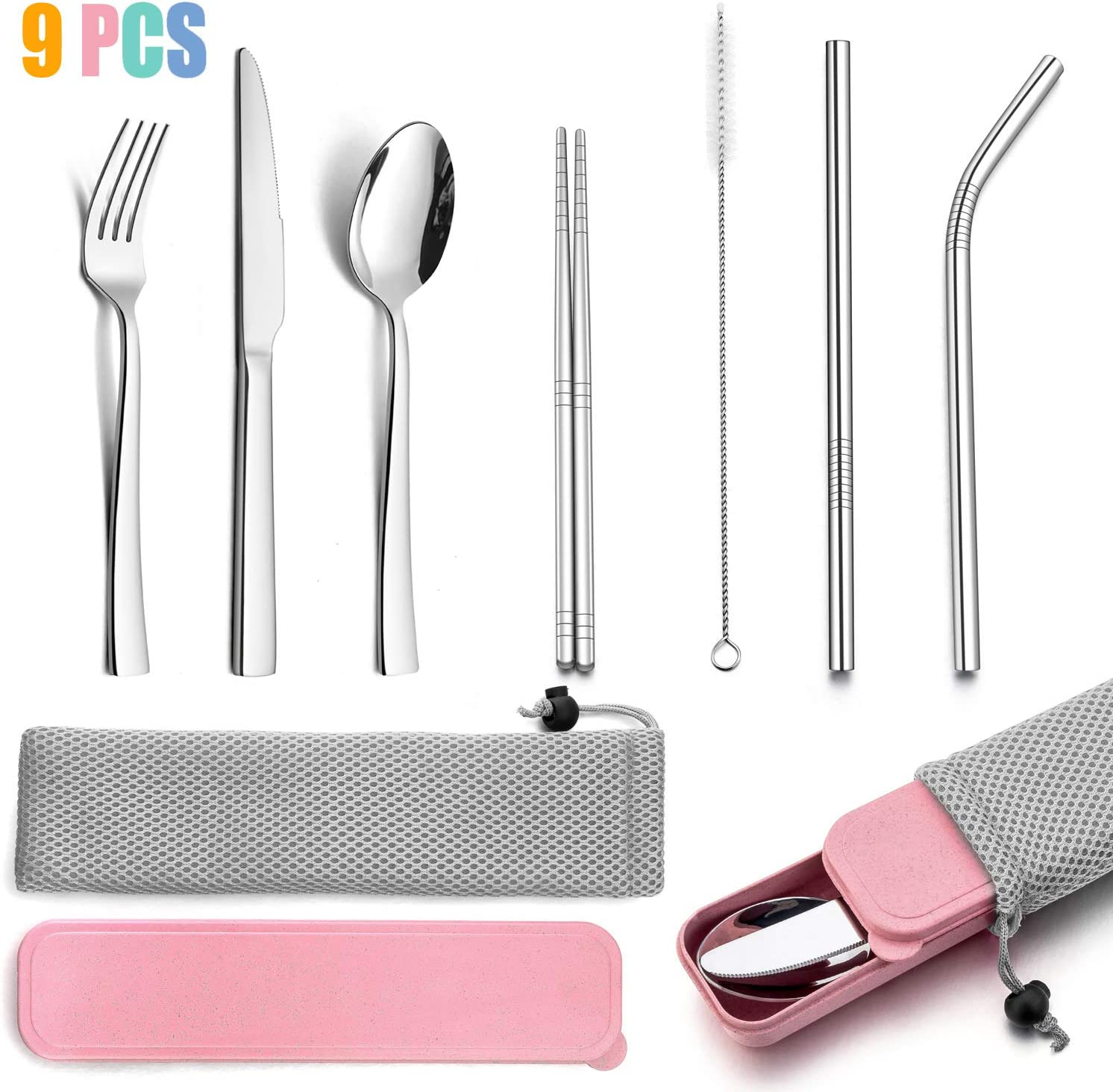 9-Piece Portable Travel Silverware Utensils with Case, HaWare Stainless Steel Flatware Set for Camping Office School Lunch, Reusable Cutlery Including Knife Fork Spoon, Dishwasher Safe(Pink)