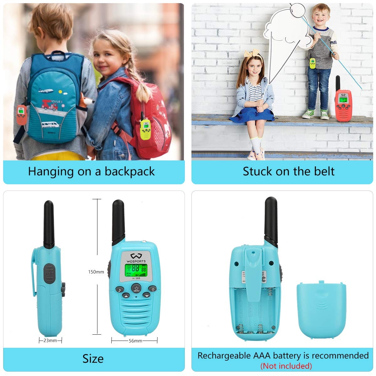 WOSPORTS Kids Walkie Talkies, 3 Pack Two Way Radios with Belt Clip, 3 KM Range Children Toy for Outdoor Adventures Game, Camping, Hiking by WOSPORTS (Image #3)