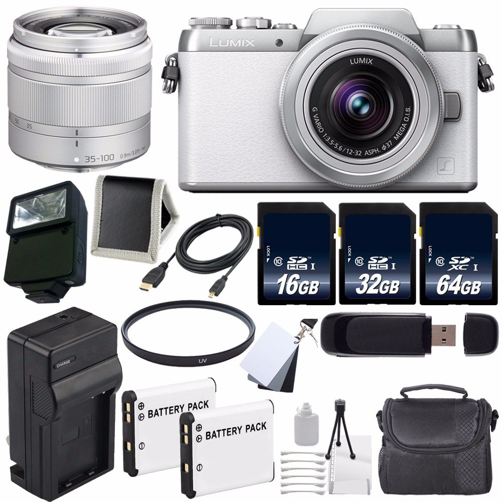 Panasonic Lumix DMC-GF7 Mirrorless Micro Four Thirds Digital Camera with 12-32mm f/3.5-5.6 ASPH. Lens (White) + Panasonic 35-100mm f/4-5.6 Interchangeable Zoom Lens (Silver) + Replacement Lithium Ion Battery + External Rapid Charger + 16GB SDHC Class 10 M