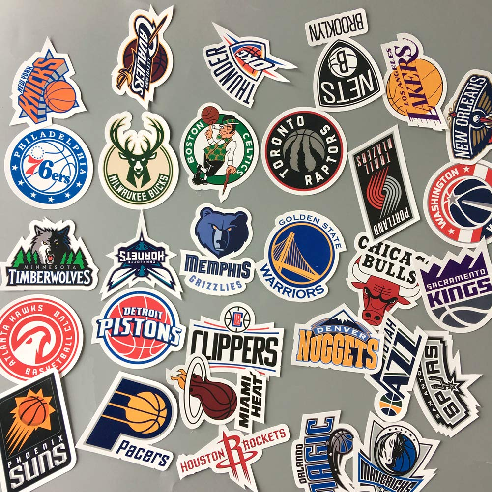 Amazon com homyu stickers pack 30 pcs decals of nba team stickers basketball team logo for laptops cars motorcycle portable luggages ipad waterproof