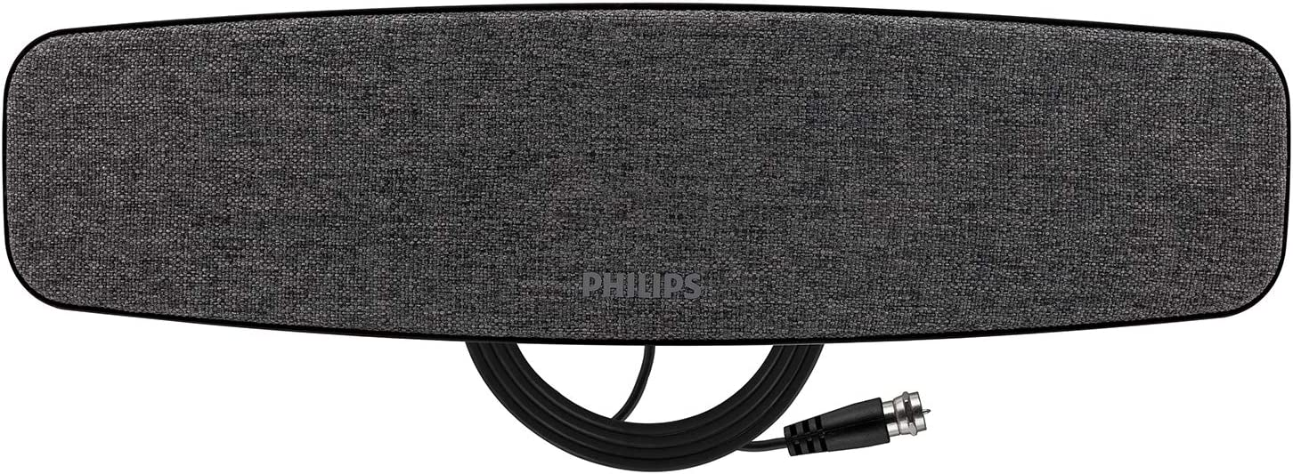 Philips HD TV Antenna, Dark Gray Fabric, Curved Design, Wall Mount, Home Decor, Long Range Antenna, 4K 1080P VHF UHF, 5Ft Coaxial Cable, Digital, HDTV Antenna, Smart TV Compatible, SDV3239N/27