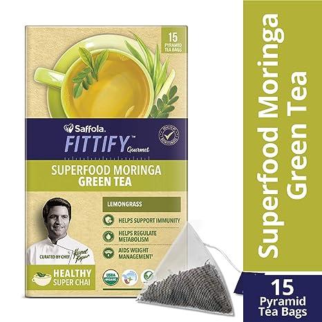 Saffola FITTIFY Gourmet Superfood Moringa Green Tea, Lemongrass, 15 Sachets, 37.5g