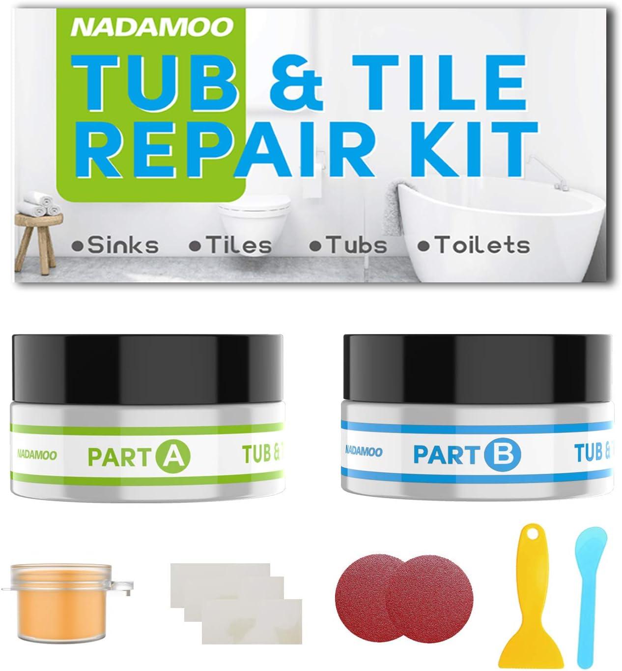 NADAMOO Tub Repair Kit Tile Shower Repair Kit for Fiberglass Porcelain Ceramic Acrylic Stone Fix Crack Chip Scrap Drill Hole Adhesive Sealant Ivory White Beige Almond - 3.5 Oz