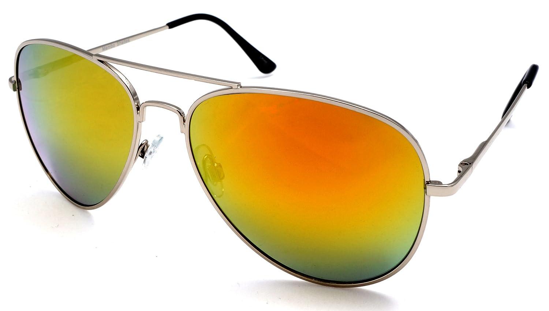 Amazon.com: Unisex Espejo Lente clásico Aviator – Gafas de ...