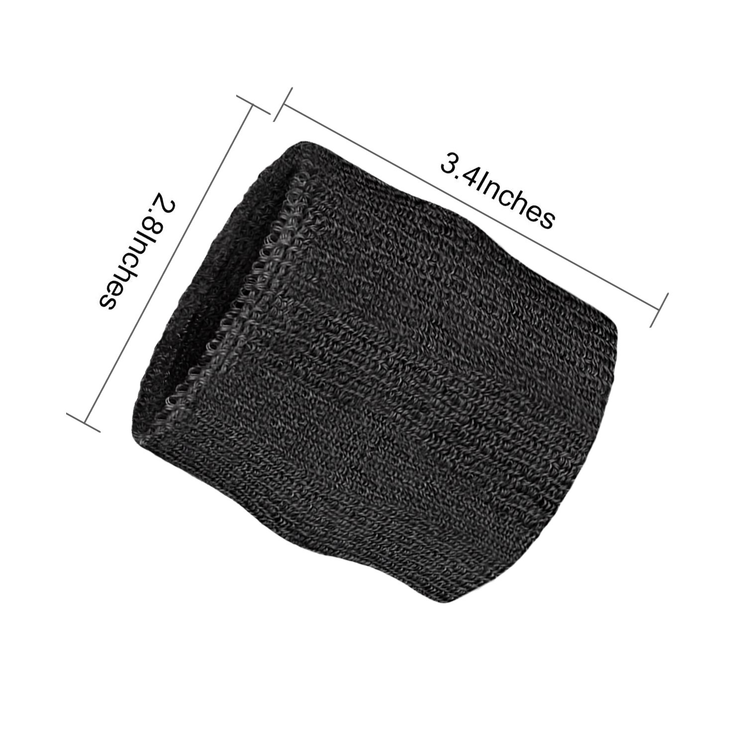 Elehere 2018 New Sweatband Wristband for Sports Basketball Football Absorbent Party Outdoor 3.5'' Pack of 6 (Black- Headbands & Wristbands) by Elehere (Image #3)