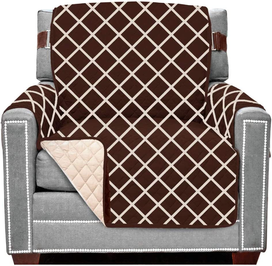 Sofa Shield Original Patent Pending Reversible Chair Protector, Many Colors, Seat Width to 48 Inch, Furniture Slipcover, 2 Inch Strap, Chairs Slip Cover Throw for Pets, Dogs, Diamond Chocolate Beige