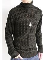 (オークランド) Oakland ケーブル編み タートルネック ニット セーター ハイネック 起毛 防寒 オーセンティック カジュアル モード メンズ