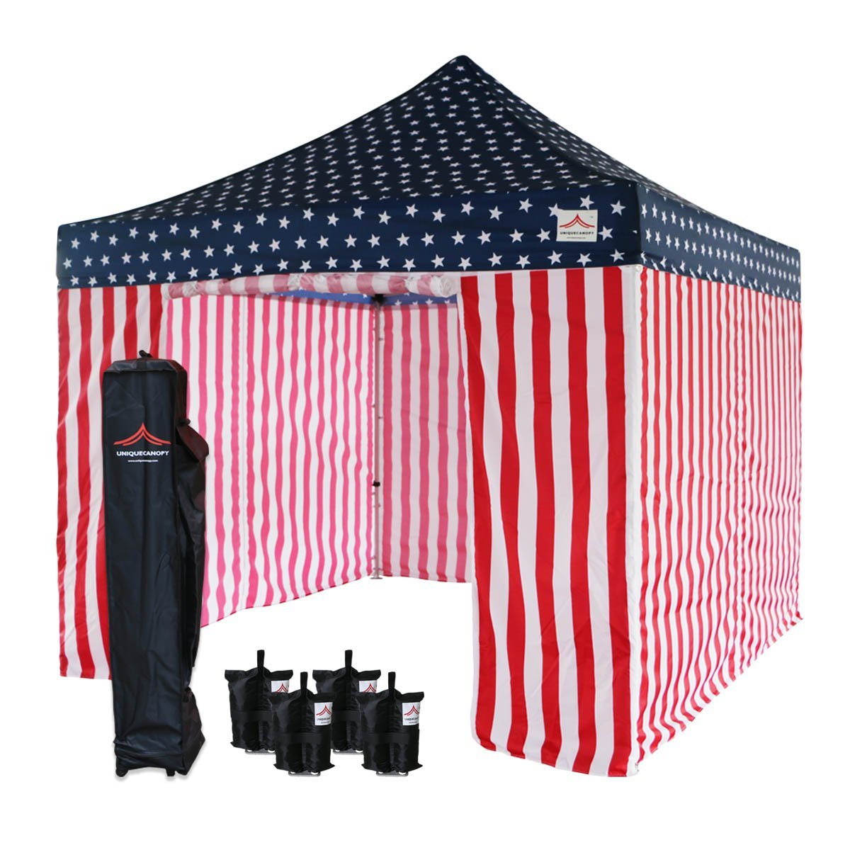 UNIQUECANOPY 10x10 Ez Pop up Canopy Tents for Parties Outdoor Portable Instant Folded Commercial Popup Shelter, with 4 Zippered Side Walls and Wheeled Carrying Bag Bonus 4 Sandbags Flag