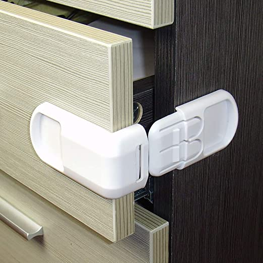 Plastic Baby Safety Protection Locks Children in Cabinets Boxes Lock Drawer Door Security Product Kids Child Baby Proof Locks,White