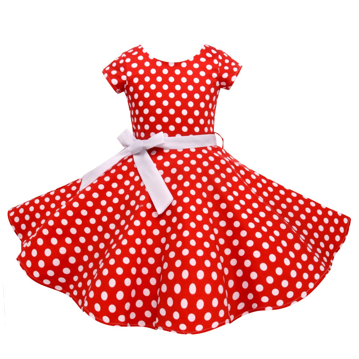 HB HBB MAGIC Vintage Girls Dresses Polka Dot Swing Rockabilly Dresses for Girls for Party Special Occasion by HB HBB MAGIC