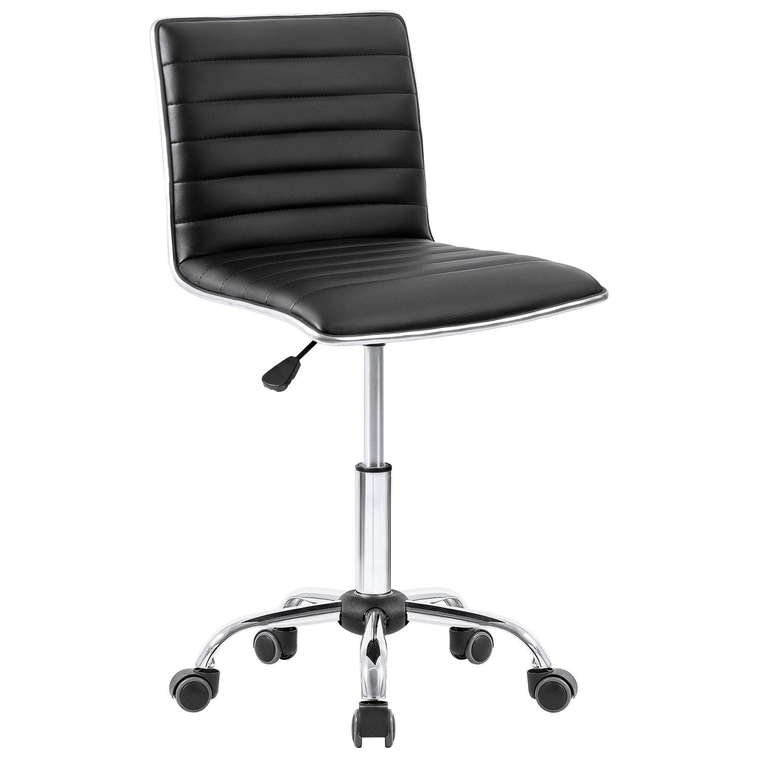 Homall Office Chair Ribbed Task Chair Armless Leather Desk Chair Mid Back Managerial Executive Chair Upholstery Computer Chair Secretarial Chair (Black)