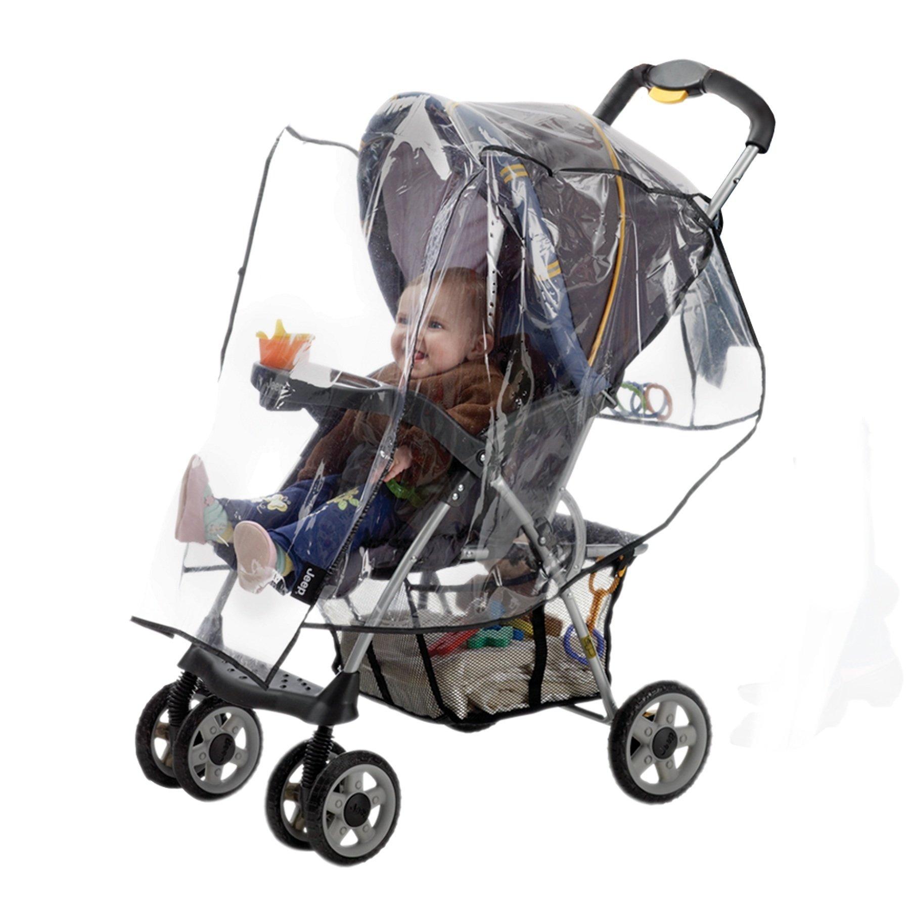 Jeep Standard Stroller Rain Cover, Stroller Rain Cover, Baby Rain Cover, Stroller Accessories, Stroller Weather Shield, Universal Size, Waterproof, Windproof, Ventilation, Clear Vinyl Plastic