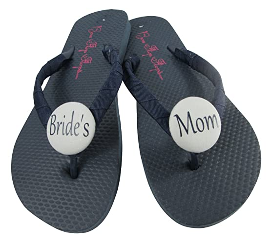 75e6e088b Navy with Gray Fabric Buttons Flip Flops for the Bride s Mom or Wedding  Party Sandals