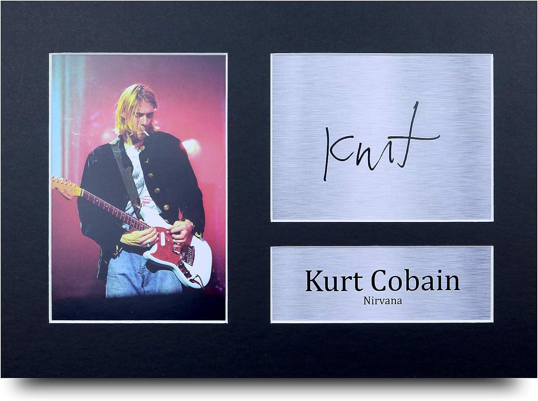 HWC Trading Kurt Cobain A4 Gerahmte Signiert Gedruckt Autogramme Bild Druck-Fotoanzeige Geschenk F/ür Musik-Fans