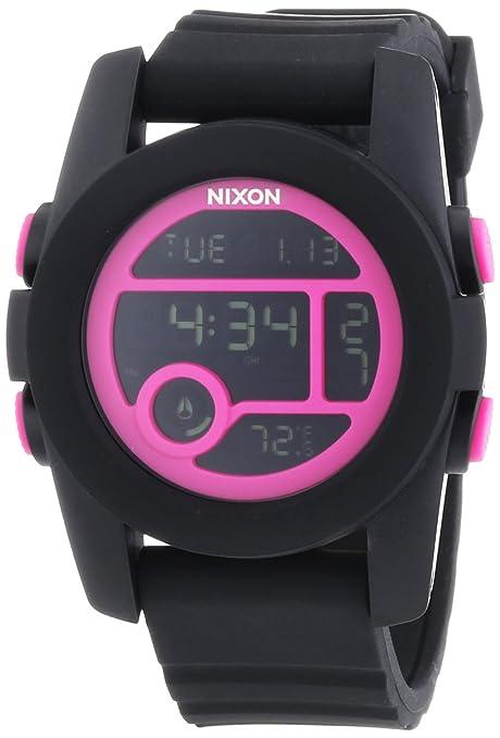 Nixon - Reloj Digital de Cuarzo para Mujer, correa de Silicona color Negro