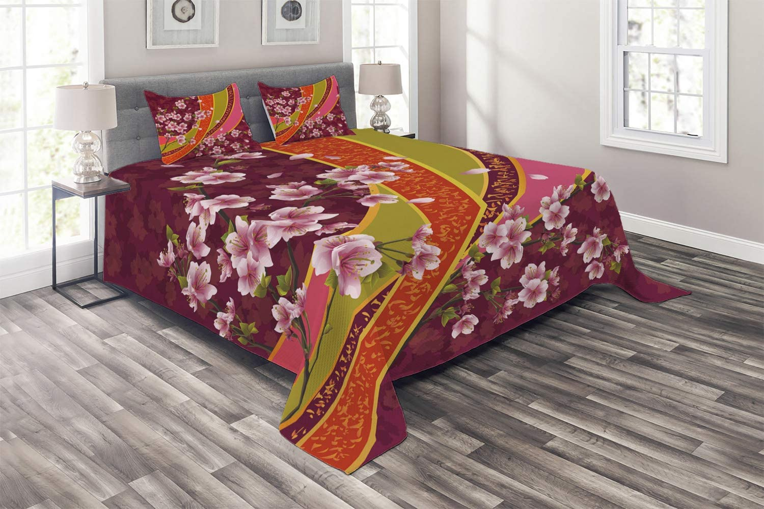 Ambesonne Flower Coverlet, Oriental Backdrop Sakura Blossom Japanese Cherry Tree Print, 3 Piece Decorative Quilted Bedspread Set with 2 Pillow Shams, Queen Size, Pink Orange