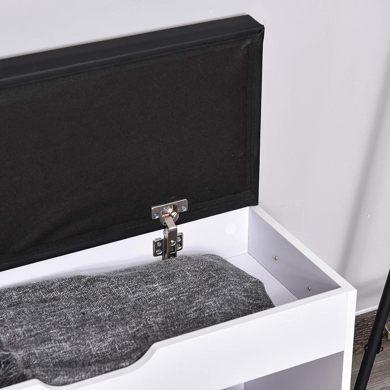 Homcom Meuble Chaussures Banc /à Chaussures 2 Niveaux Rangement Niche Coffre int/égr/é avec Coussin Blanc Noir