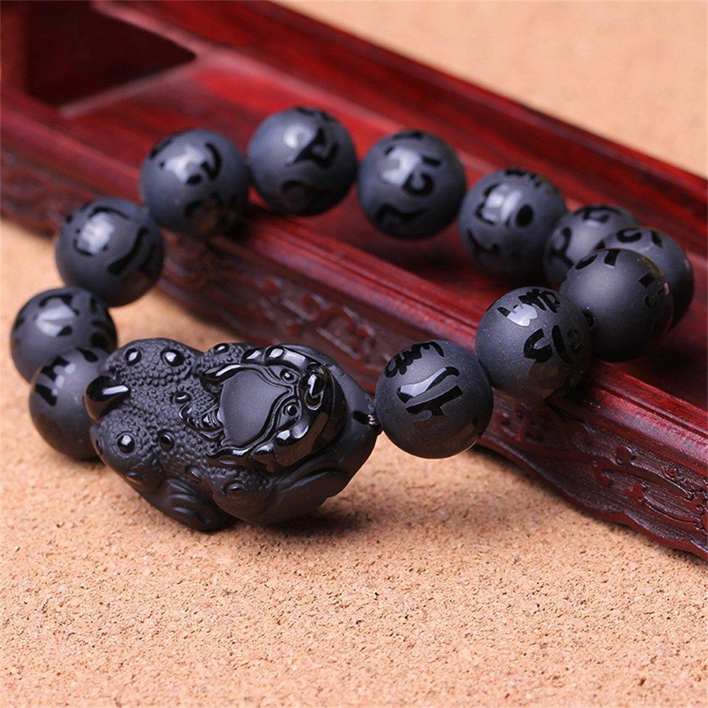 KOREA-JIAEN Pixiu Brecelet 16mm Natural Obsidian Bead Brecelet Bangle (16mm Bead, A) by KOREA-JIAEN (Image #4)