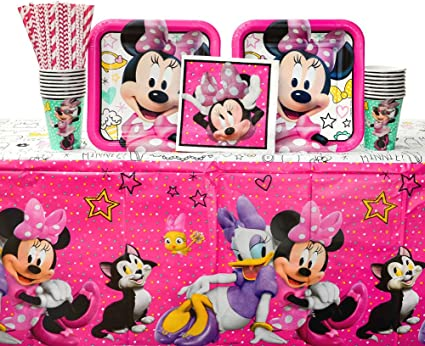 Minnie Mouse Happy Helpers Birthday Party Supplies Pack for 16 Guests | Straws, Dinner Plates, Lunch Napkins, Cups, and Table Cover| Celebrate Your ...