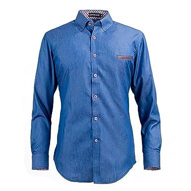 becc806d3e9 LOKOUO Men s Denim Shirts Casual Long Sleeve New Fashion Slim Fit European  Style Dark Jeans Shirt