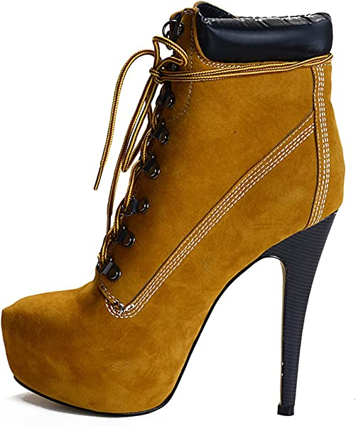 567d51090 Amazon.com | onlymaker Almond Toe Platform Lace up High Slim Heel Ankle  Boots Brown US5 | Ankle & Bootie