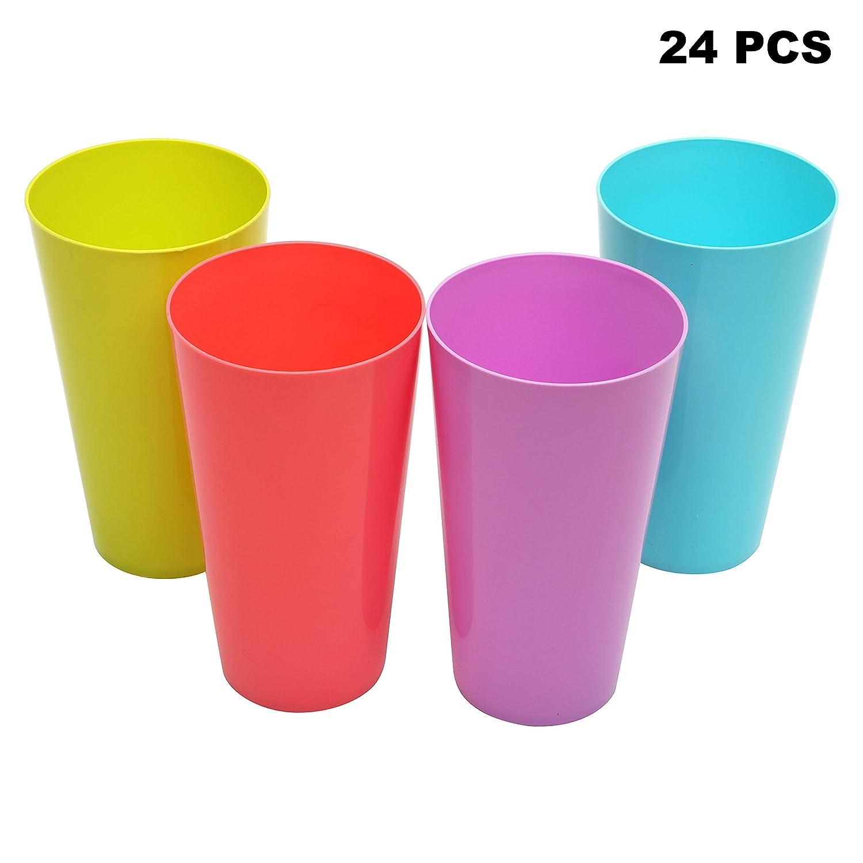 Set de Vasos de Pl/ástico Duro para Fiestas Playa y Picnic Acampadas Bodas - 12 Piezas Vasos Reutilizables 500ml Vasos Colores Set Vasos de Plastico Aptos para Lavavajillas Estante Alto