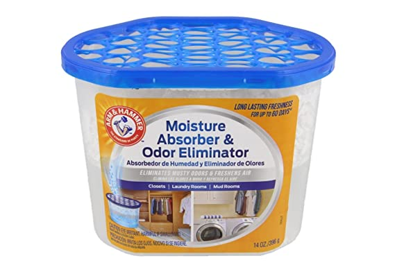Amazon.com - Arm & Hammer Moisture Absorber & Odor Eliminator 14oz Tub, 2 Pack - Eliminates Musty Odors & Freshens Air for Closets, Laundry rooms, ...