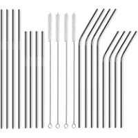 EHME Stainless Steel Drinking Straws, Set of 6, Reusable Metal Drinking Straws, Free Cleaning Brush Included