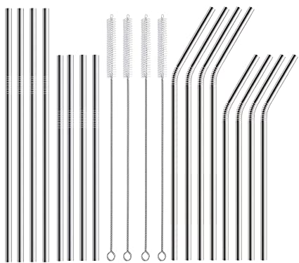 ae040b48e90 16 Pack Stainless Steel Metal Straws for Drinks, 10.5 inch Extra Long  Stainless Steel Drinking Straws 4 Straight and 4 Bent, 8.5 inch 4 Straight  and 4 ...