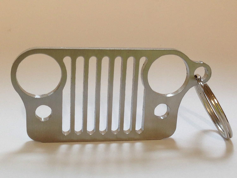Koscar Store camo Stainless Steel Jeep Grill Key Chain KeyChain KeyRing CJ JK TJ YJ XJ