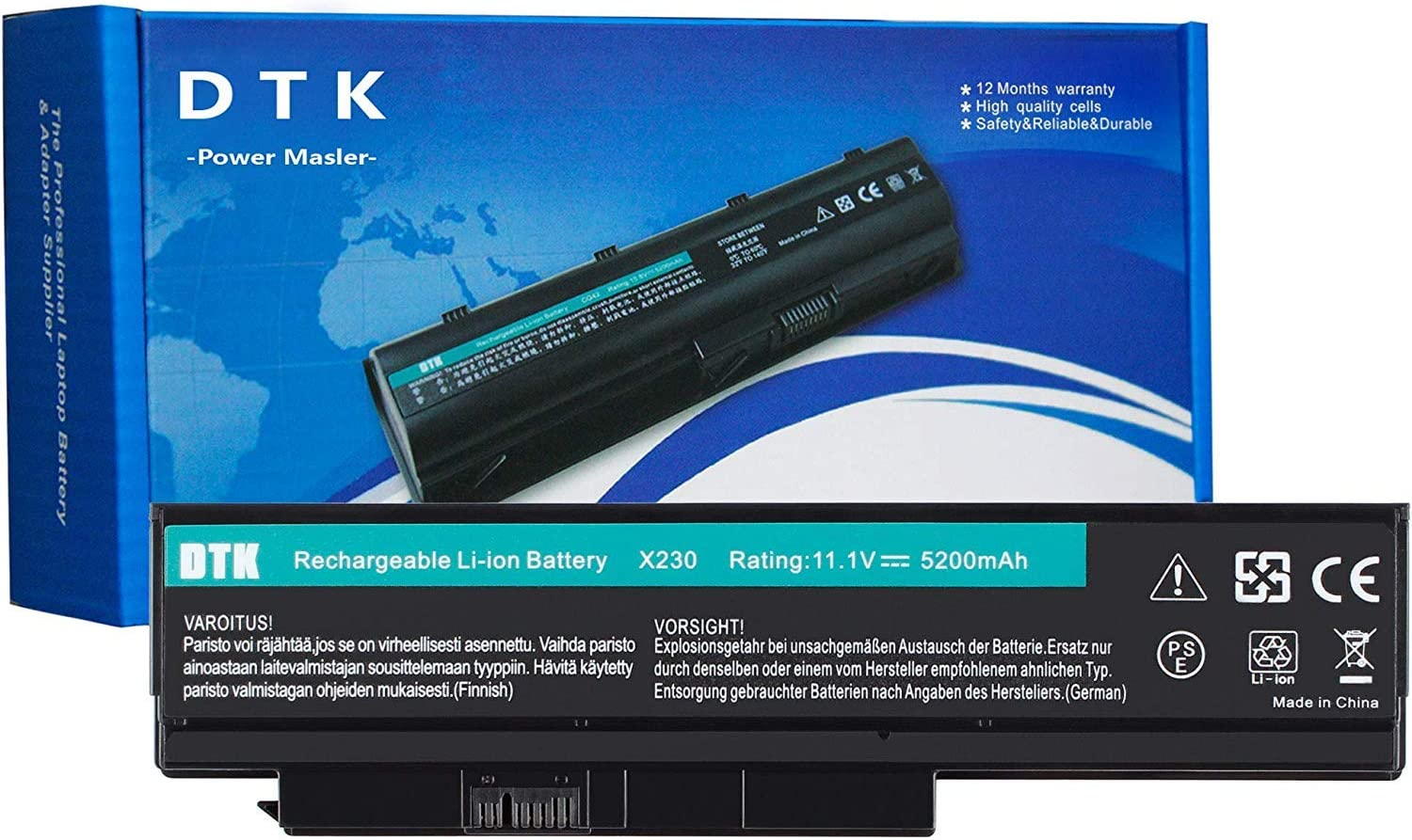 DTK Laptop Battery Replacement for Lenovo ThinkPad X230 X230i X220 X220i 0A36306 45N1023 45N1022 0A36307 45N1027 45N1026 44+ (6 Cell 11.1V 4400mAh) Laptop Li-ion Batteries