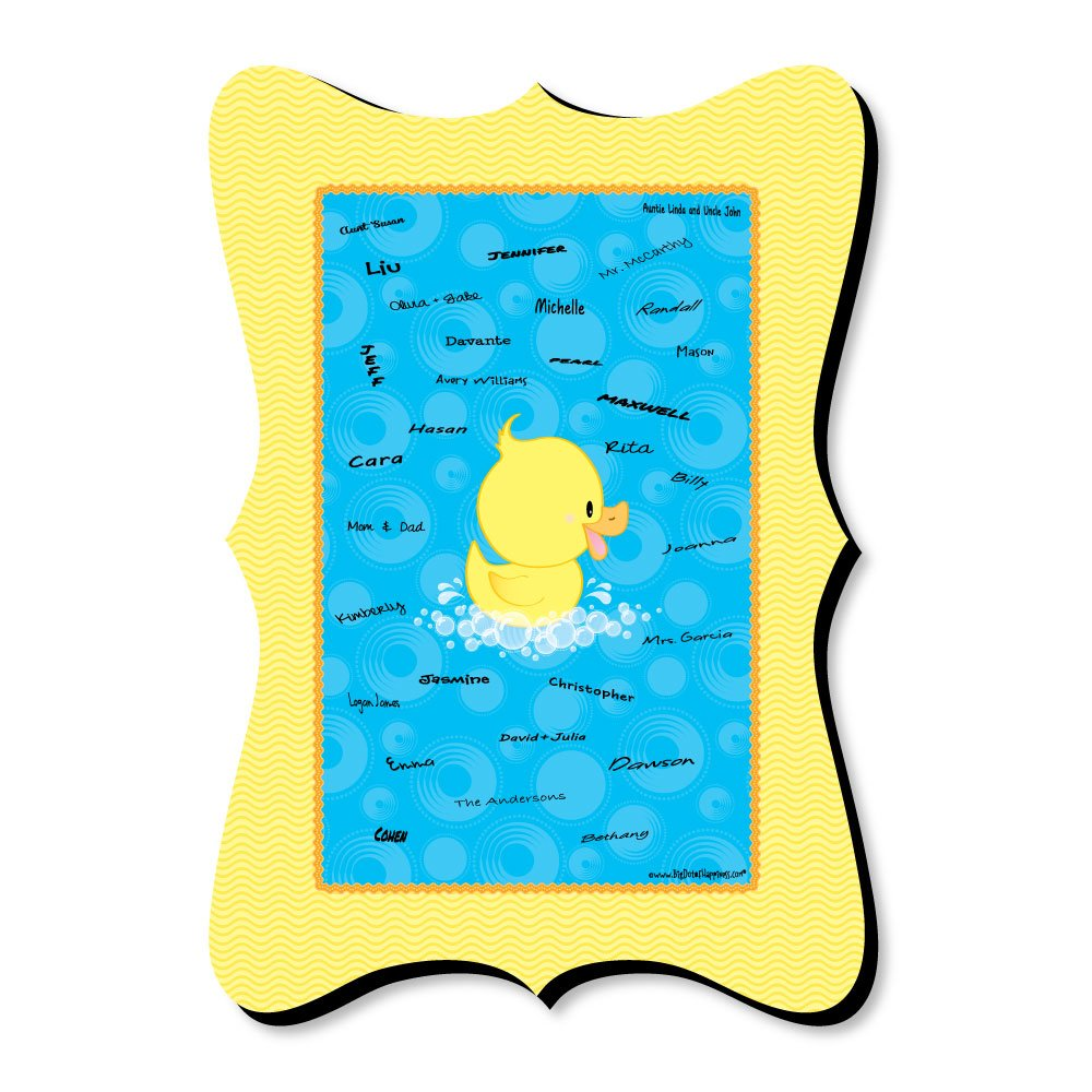 Big Dot of Happiness Ducky Duck - Unique Alternative Guest Book - Baby Shower or Birthday Party Signature Mat