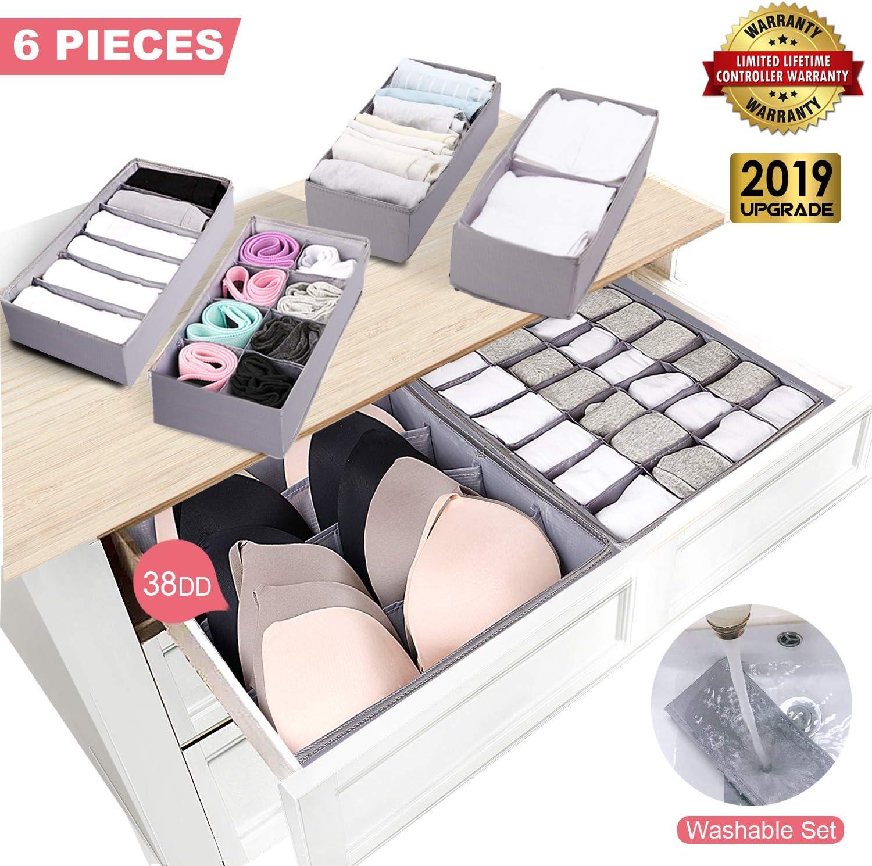 Calcetines 2 Organizador de Ropa Interior Caja de Contenedores De Almacenamiento Plegable para Sujetadores Color: Gris None//Brand Lmbqye Organizadores de Cajones Plegables Corbatas
