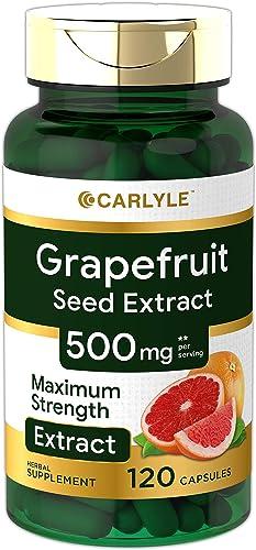 Carlyle Grapefruit Seed Extract 500 mg 120 Capsules Maximum Strength, Immune Formula, Non-GMO, Gluten Free