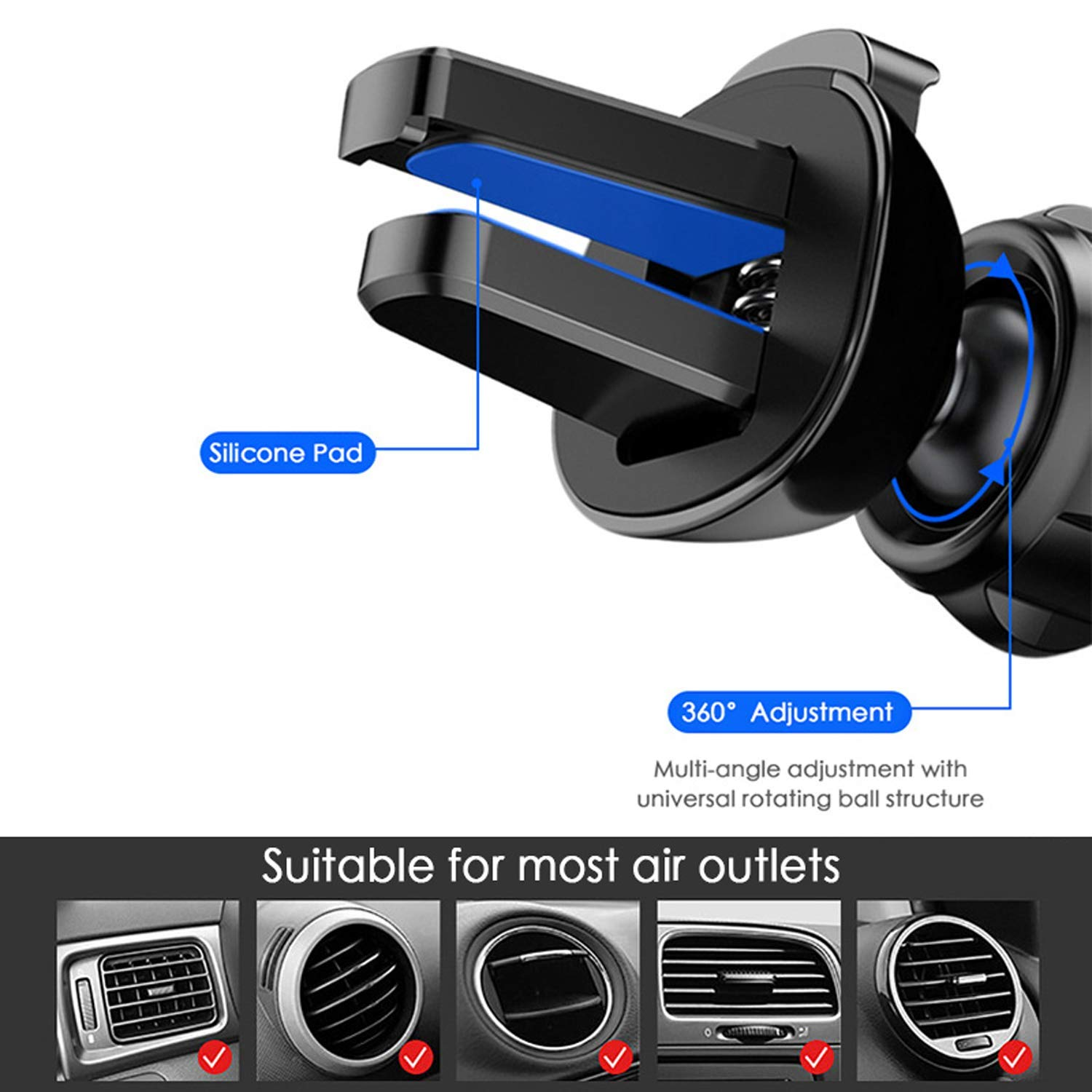 Black Car Phone Holder 360/°Rotation Deformable Universal Mobile Phone Holder for Phone in Car Air Vent Mount Car Holder Stand for 4.7-6.5 inch Mobile Phones