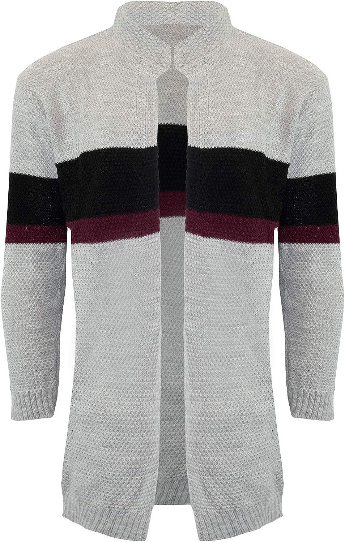 Fashion Star Mens Block Stripes Chunky Knit Sweater Cardigan