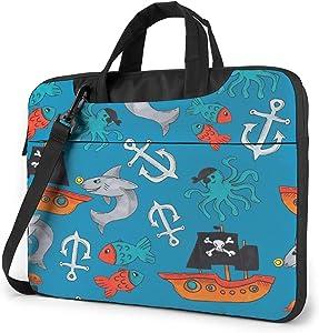 Colorful Pirate Laptop Shoulder Messenger Bag,Laptop Shoulder Bag Carrying Case with Handle Laptop Case Laptop Briefcase 14 Inch Fits 13 inch Netbook/Laptop