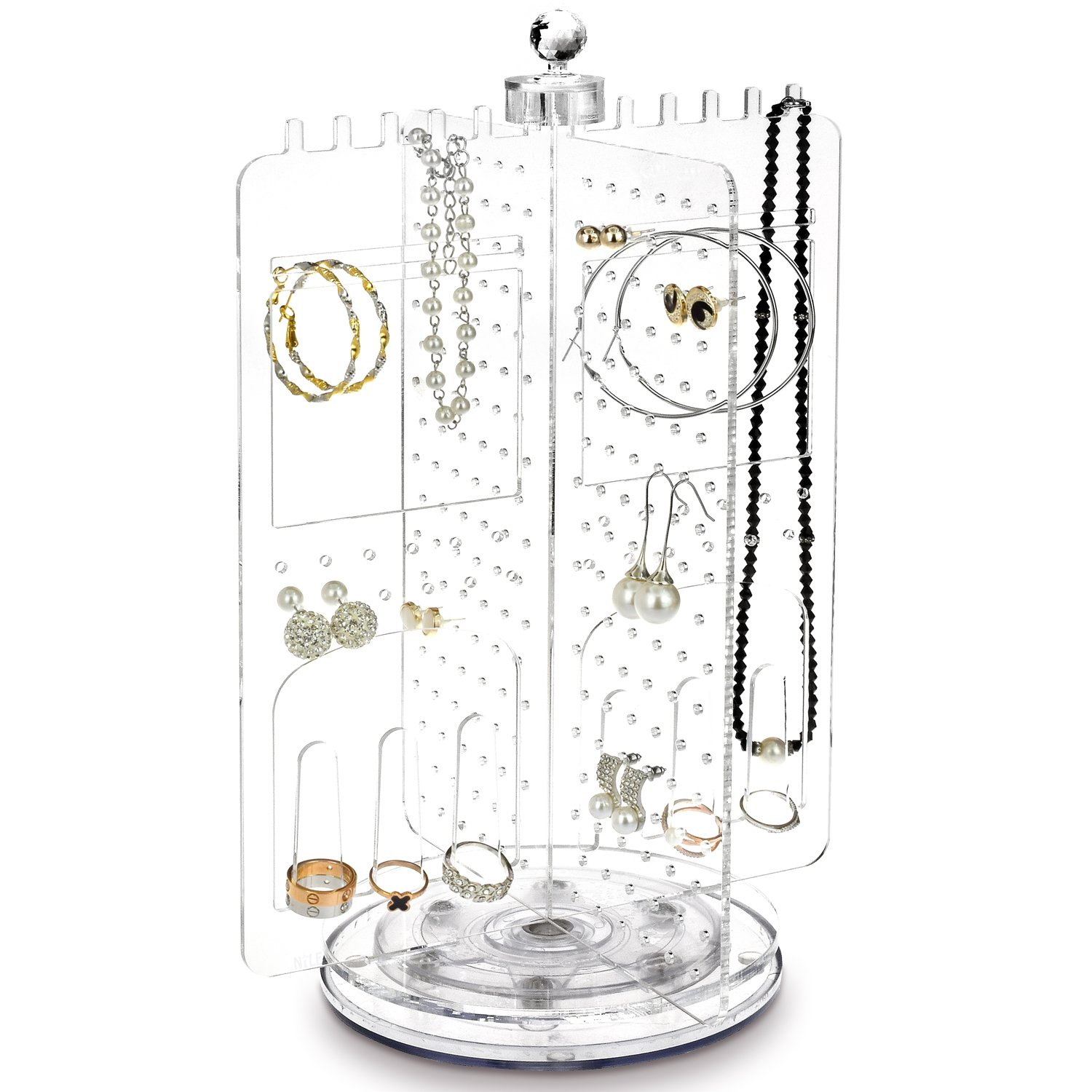 Ikee Design Acrylic Rotating Jewelry Stand Earring Holder Accessories Organizer