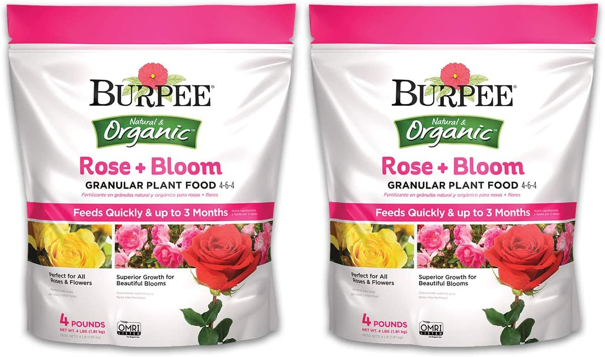 Burpee Natural Organic Rose Bloom Granular Plant Food 4lb, 4 6 4 (2 Pack)