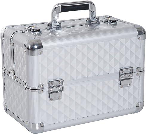 HOMCOM Estuche de Maquillaje Organizador Cosméticos Profesional Maletín para Maquillaje Caja de Belleza Portátil 4 Niveles 35.5x20x25.5cm Aluminio: Amazon.es: Hogar