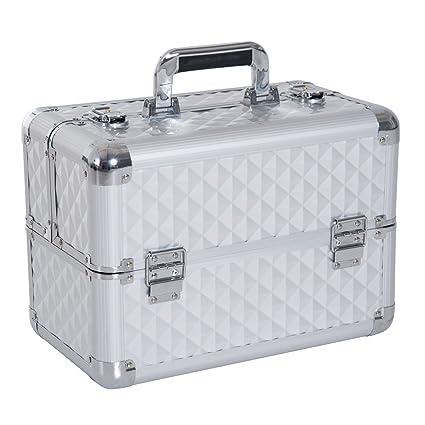 Homcom Estuche de Maquillaje Organizador Cosméticos Profesional Maletín para Maquillaje Caja de Belleza Portátil 4 Niveles 35.5x20x25.5cm Aluminio