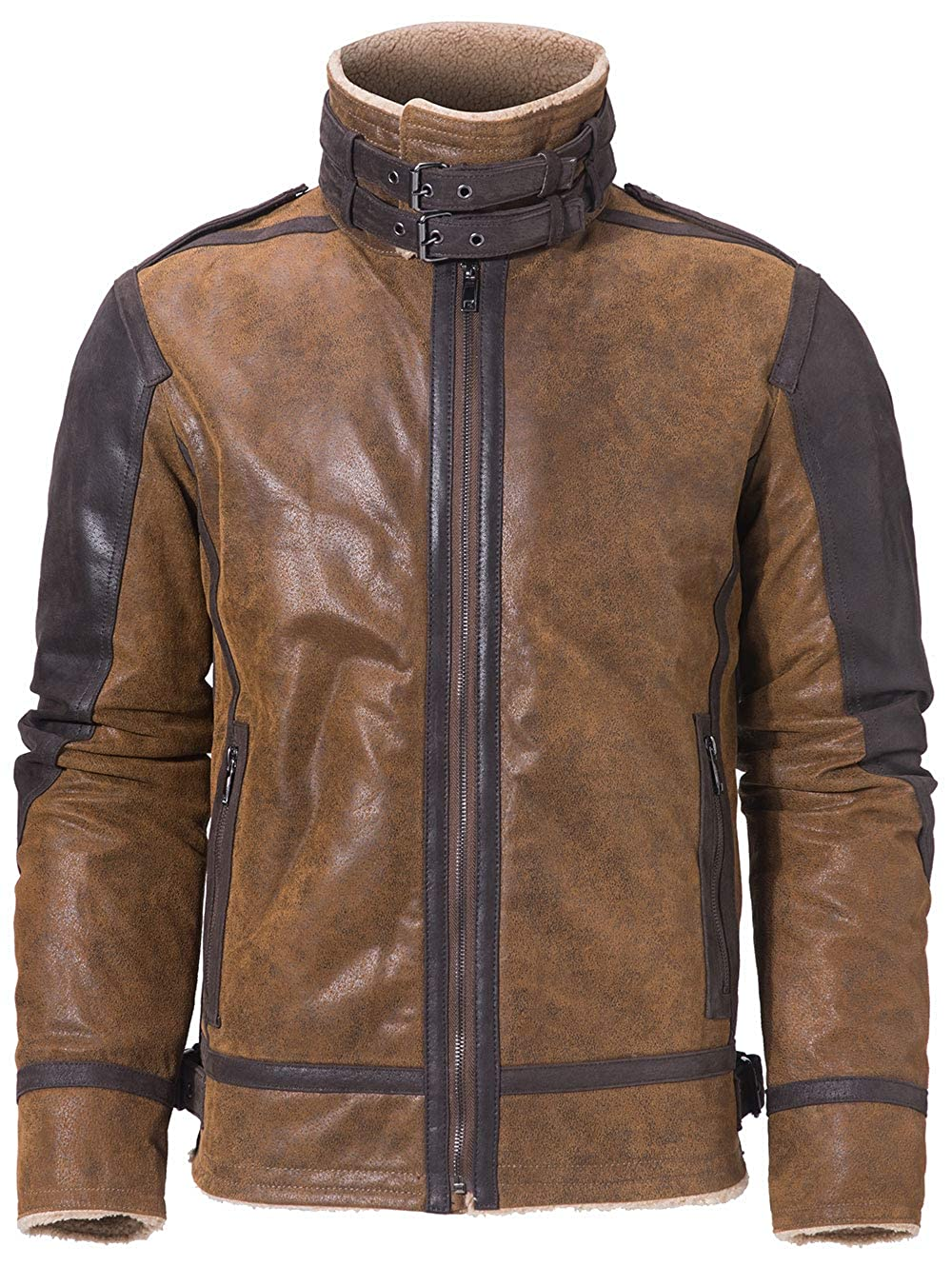 FLAVOR Men's Leather Bomber Jacket with Faux Fur Shearling Fleece Pilot Coat
