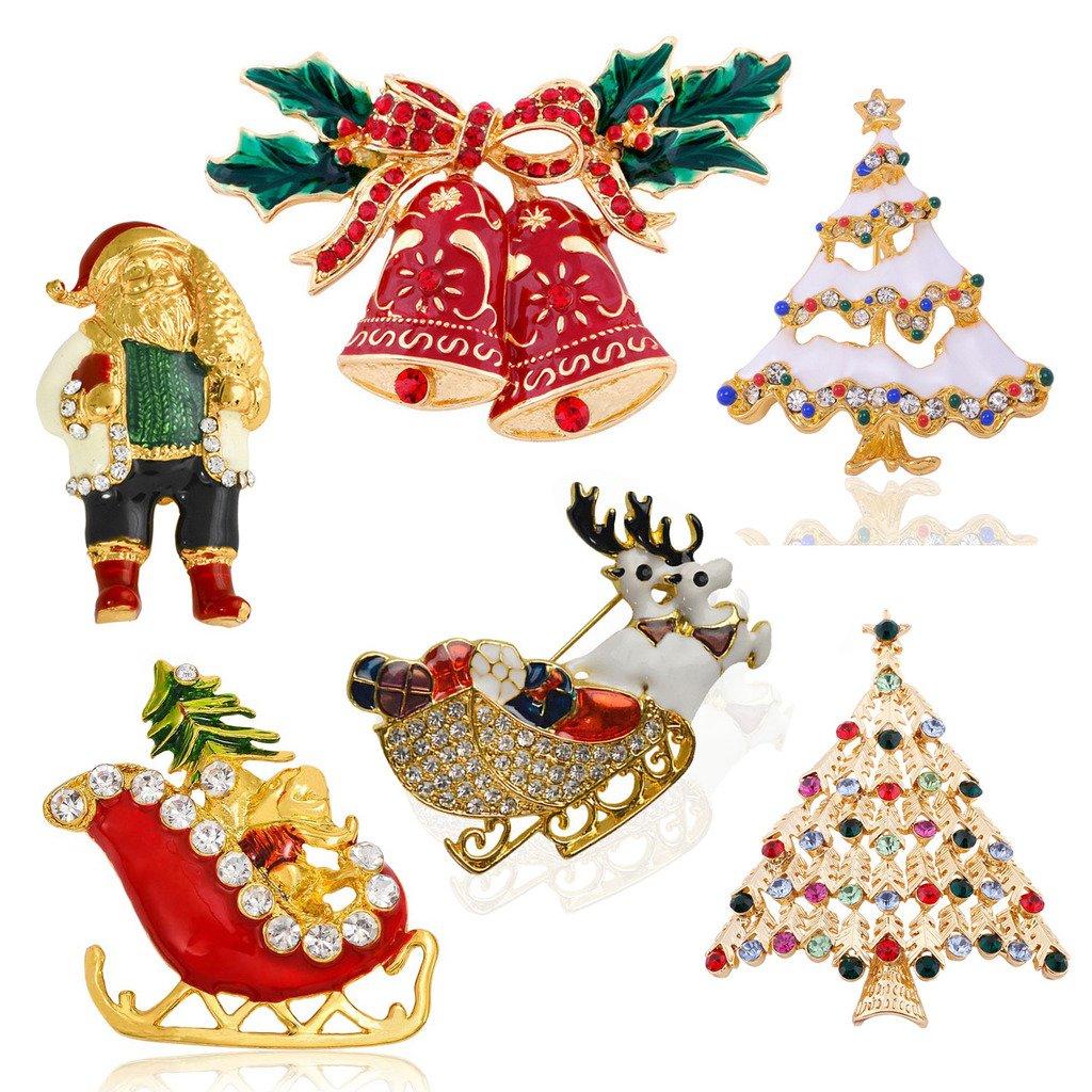Sewanz Women's 6 Pcs Gold Tone Christmas Theme Brooch Pins Set, Xmas Decorations Gift