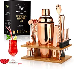 25 oz Cocktail Shaker Set 16 Pcs Mixology Bartender Kit with Stand - Professional Stainless Steel Bartending Kit - Perfect Home Bar Tool Gift Set for Drink Mixing (Rose Gold)