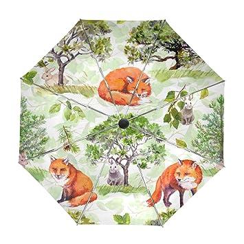 ALAZA Viajes Fox Hare Acuarela Paraguas de Apertura automática Cerca de Protección UV a Prueba de