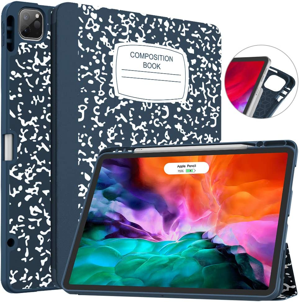 Soke New iPad Pro 12.9 Case 2020 & 2018 with Pencil Holder - [Full Body Protection + Apple Pencil Charging + Auto Wake/Sleep], Soft TPU Back Cover for 2020 iPad Pro 12.9(Book Navy)