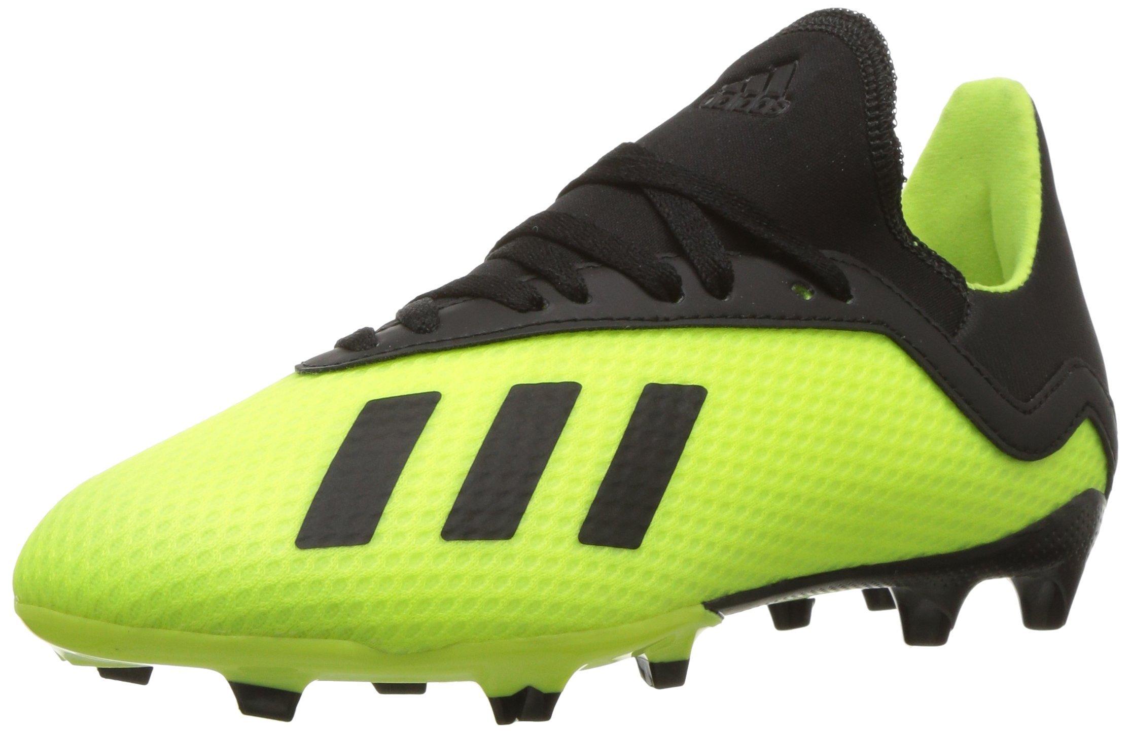 adidas Unisex X 18.3 Firm Ground Soccer Shoe Black/Solar Yellow, 5 M US Big Kid