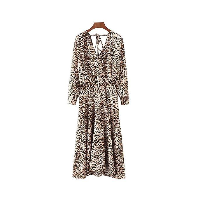 Auspiciousi Vestido con Estampado de Leopardo con Cuello en V y Espalda con Espalda Pajarita de